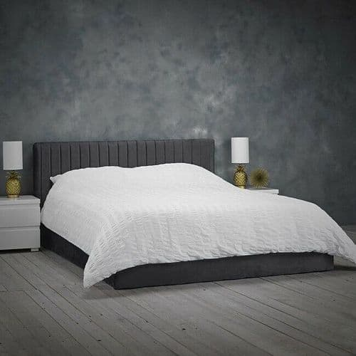 SILVER GREY VELVET STORAGE LIFT UP BED FRAME - DOUBLE OR KING SIZE